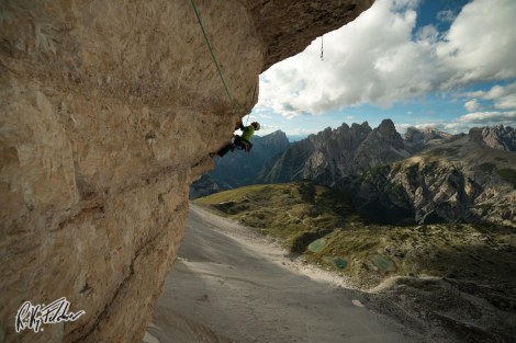 "Climbing on the last hard pitch of ""Pan Aroma"" (Tre Cime)"