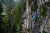 Claudia climbing in Bergstation, Zillertal