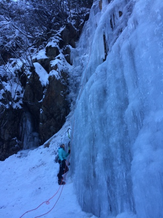 Pitztal...First ice climbing day for Babsi